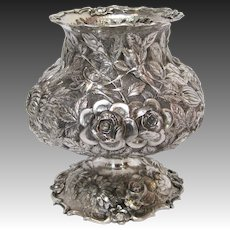 Chinese Export Sterling Silver Repousse Footed Vase, circa 1920