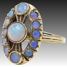 Vintage 14kt Gold and Opal Egyptian Revival Ring