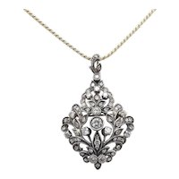 Late Victorian Sterling Silver and 12kt Gold Diamond Pendant