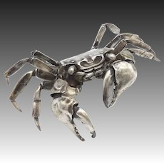 Sterling Silver Articulated Crab Sculpture by Oleg Konstantinov