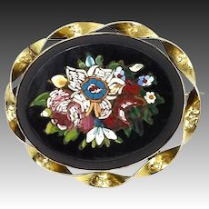 Victorian Floral Micro Mosaic Brooch