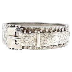 Victorian Sterling Silver Belt Buckle Cuff Bracelet, circa 1880