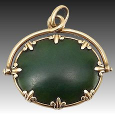 Victorian 14kt Gold and Nephrite Jade Pendant