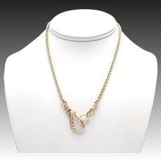 12kt Gold Rope Chain Necklace with Hand Hook