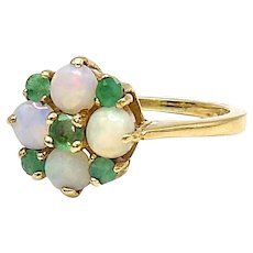 Vintage 9kt Gold, Emerald and Opal Ring
