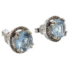 14kt White Gold, Aquamarine, and Diamond Earrings
