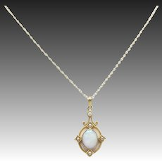 Art Nouveau 10kt Gold, Opal, and Seed Pearl Pendant Necklace