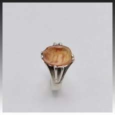 Greek Carnelian Antiquity Horse Intaglio and Sterling Silver Ring