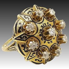 Victorian 18kt Gold and Diamond Taille d'Epargne Ring