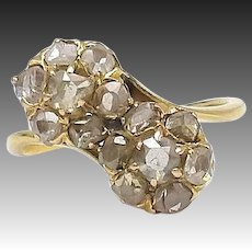 Victorian 18kt Gold and Rose Cut Diamond Flower Bypass Ring