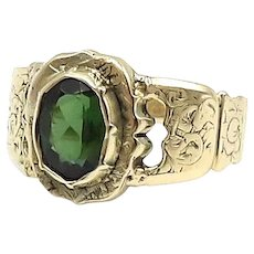 Georgian 15kt Gold and Green Tourmaline Ring