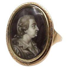 Georgian 15kt Rose Gold Enamel Portrait Ring