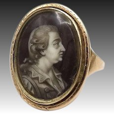 Georgian 15kt Rose Gold Enamel Portrait Ring