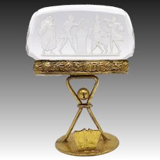 Austrian Glass and Gilt Place Card Holder