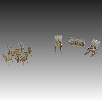 Victorian Brass Filigree Miniature Garden Furniture Set
