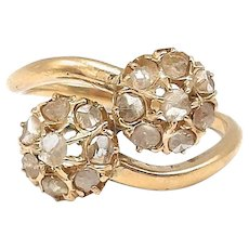Victorian 15kt Gold and Rose Cut Diamond Bypass Ring