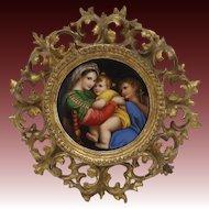 Porcelain Hand Painted Plaque of Raphael's Madonna della Seggiola