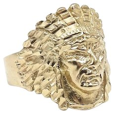 Vintage 14kt Gold Native American Indian Chief Headdress Unisex Ring
