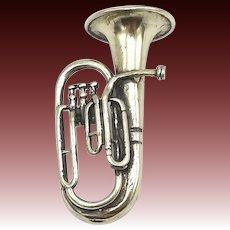 Vintage Miniature Italian 800 Silver Figural Tuba