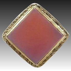 Victorian 14kt Gold and Carnelian Filigree Ring