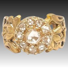 Victorian 18kt Gold and Diamond Water Lily Ring