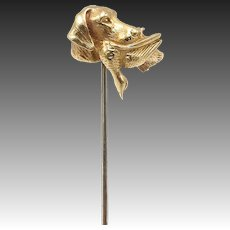 Late Victorian 14kt Gold Hunting Dog Stick Pin