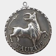 Vintage Sterling Silver Zodiac Sign Medallion: Taurus