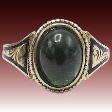 Tourmaline Green 18KT Gold Mourning Ring