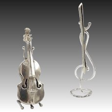 Vintage Italian 800 Silver Miniature Figural Violin and Bow