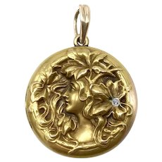 Art Nouveau 14kt Gold and Diamond Pendant Locket