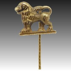 Late Victorian 18kt Gold Etruscan Revival Lion Stick Pin