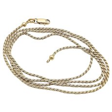"Vintage Italian 14kt Gold 23"" Espiga Wheat Chain Necklace"