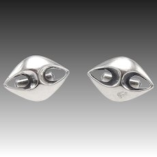 Vintage Pair of Mid-century Modern Sterling Silver Cuff Links