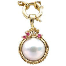 14kt Gold, Ruby, and Mabé Pearl Pendant Enhancer
