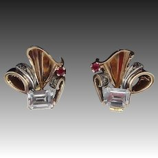 Art Nouveau 14KT Gold Aquamarine, Ruby, Diamond, Silver and Gold Earrings