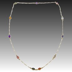 Vintage 14kt Yellow Gold and Gemstone Cabochon Endless Necklace
