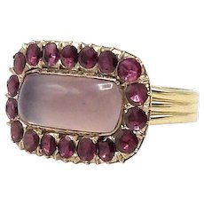 Georgian 14kt Gold, Purple Chalcedony, and Garnet Ring