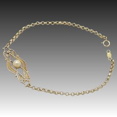 Romantic 14KT Gold and Pearl Bracelet