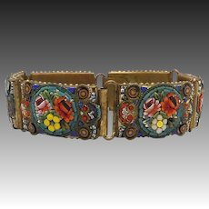 Vintage Micro Mosaic and Brass Bouquet Bracelet