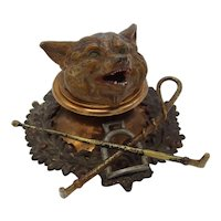 Cold Painted Bronze and Copper Fox Head Inkwell