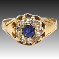 Edwardian 18kt Gold, Sapphire and Diamond Ring