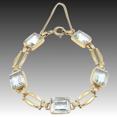 Retro 14kt Gold Carat Aquamarine Bracelet with 25 Carats