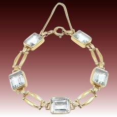 Retro 14kt Gold Carat Aquamarine Bracelet with 25 Carats