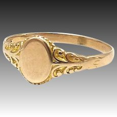 Antique 10kt Signet Ring with Blank Cartouche