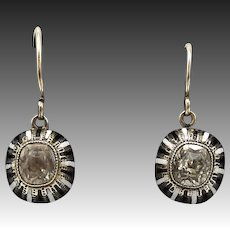 10KT Gold, Black & White Enamel, Victorian Paste Earrings