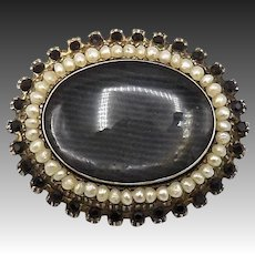 14K Gold Victorian Mourning Brooch with Hair, Faceted Stones and Pearls