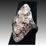 Art Deco 18kt White Gold Diamond and Sapphire Ring