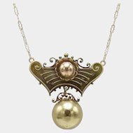 Exquisite Rose & Yellow Gold, Etruscan Revival Necklace