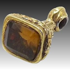 Victorian 9kt Gold-Cased Fob with Glass