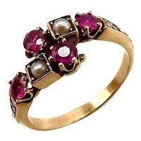 14K Gold Victorian Era Rubies & Pearls Ring